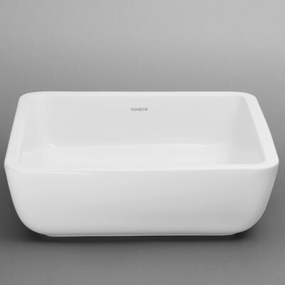 Ceramic Square Vessel Bathroom Sink without Overflow - 200051-WH