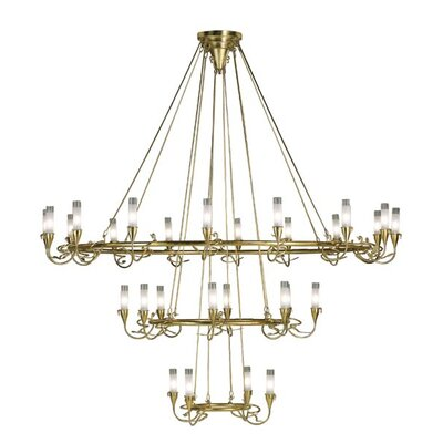 Lamp International Age 18 Light / Gold Leaf Chandelier