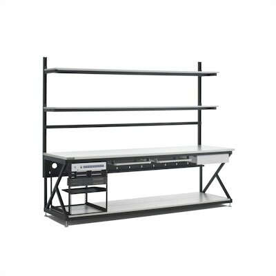 "Kendall Howard 96"" Performance LAN Station Workbench with Full Bottom Shelf"