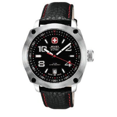 Wenger Swiss Gear Outback Military Wrist Watch with Black and Red Dial