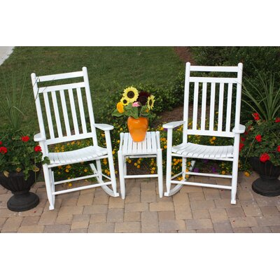 2 Jumbo Adult Slat Seat Porch Rocking Chair with Table