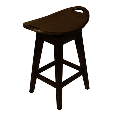 "Carolina Accents Thoroughbred 26.75"" Backless Swivel Counter Stool in Espresso"