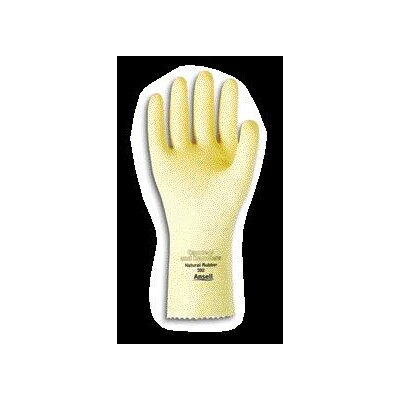 "Ansell 8 Canners And Handlers™ Medium Duty Natural Unsupported 20 Mil Natural Latex Unlined 12"" Glove With Pebble Embossed Grip & Pinked Cuff"