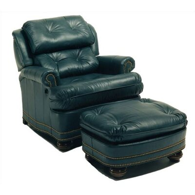 Buttoned Leather Chair and Ottoman