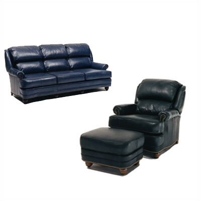 Hi Back Pub Leather Sofa and Chair Set