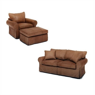 Skirted Leather Sofa and Chair Set