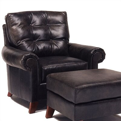 Distinction Leather Alexis Leather Chair and Ottoman