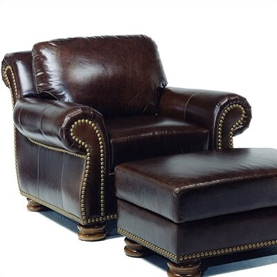 Distinction Leather Hilton Leather Chair and Ottoman