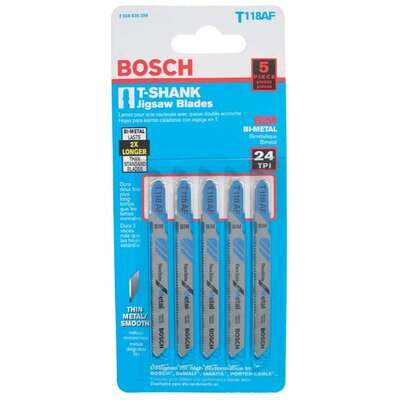 "Bosch Power Tools T-Shank Bi-Metal Jig Saw 3-5/8"" Blades T118AF"