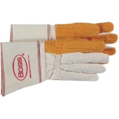 Boss Manufacturing Company Gauntlet Cuff Chore Gloves - large golden brown choreglove clute cut c