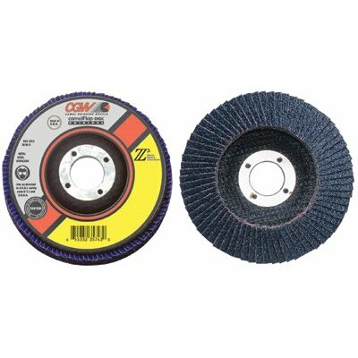 "CGW Abrasives Flap Discs, Z3 -100% Zirconia, Regular - 4""x5/8"" t27 z3 reg 120 grit flap disc"
