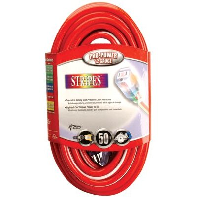 Coleman Cable Coleman Cable - Stripes Extension Cords 12/3 Sjtw 50' Ext Cord Lighted Ends Lime Green: 172-02548-88-54 - 12/3 sjtw 50' ext cord lighted ends lime green