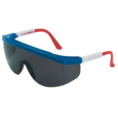 Crews Tomahawk® Protective Eyewear - tomahawk red/white/bluefrm grey lens safety gls