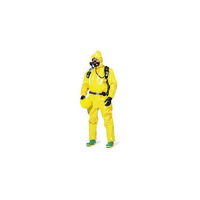 DuPont Tychem® BR Yellow Chemical Coverall With Respirator Fit Attached Hood, Front Zipper Closure And Sock Boots