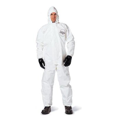 DuPont White Tychem® SL Chemical Protection Coveralls With Taped Seams, Storm Flap Over Front Zipper Closure, Attached Hood, Elastic Face, Elastic Wrists And Elastic Ankles