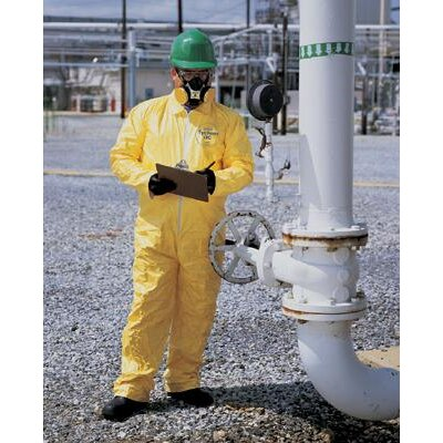 DuPont Yellow Tychem® QC Chemical Protection Coveralls With Serged Seams, Storm Flap Over Front Zipper Closure, Elastic Wrists And Elastic Ankles