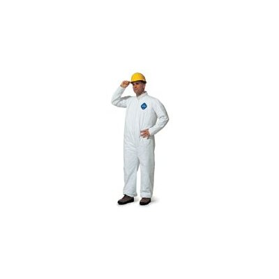 DuPont White Coverall With Zipper Front And Elastic Wrists And Ankles Size Small