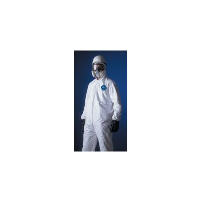 DuPont White Tyvek® Coverall With Serged Seams, Zipper Front, Elastic Wrists And Ankles, And Attached Elastic Hood (25 Per Case)