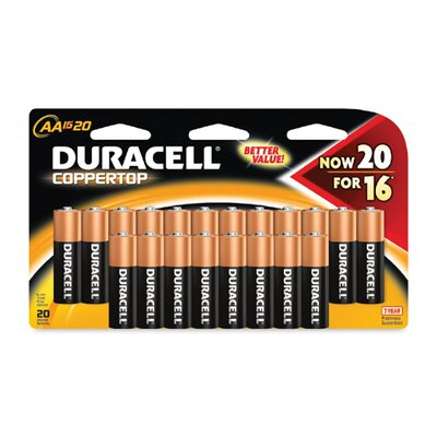 Duracell Coppertop Alkaline Batteries with Duralock Power Preserve Technology, Aa, 20/Pack