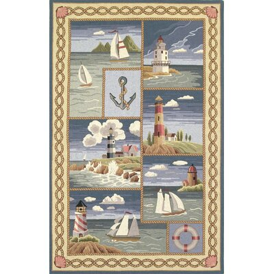 Colonial Coastal Views Nautical Novelty Rug