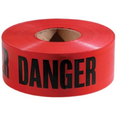 "Empire Level Safety Barricade Tapes - 3""x 1000' red with blackdanger tape"