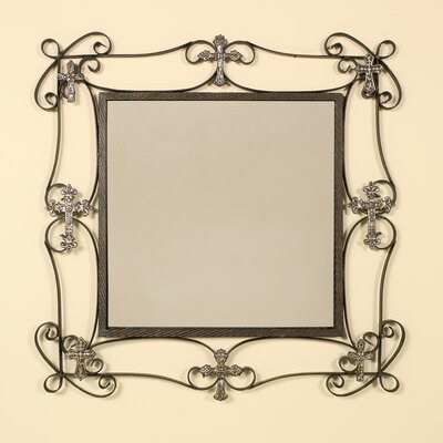 Square Wall Mirror with Decorative Cross