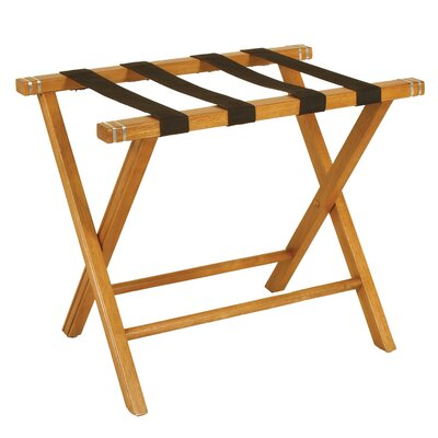 Passport Furniture Luggage Rack in Polished Nickel and Oak