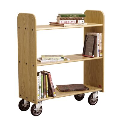 "Diversified Woodcrafts 15"" Solid Oak Book Truck With 3 Flat Shelves"