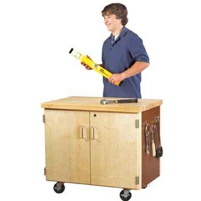 "Diversified Woodcrafts Mobile Series 34"" H x 36"" W x 24"" D Locking Storage Cabinet"