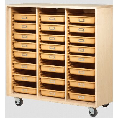 "Diversified Woodcrafts 51"" H x 48"" W x 22"" D Mobile Tote Tray Storage Cabinet"