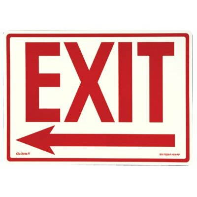 Jessup Glow In The Dark Exit Signs - peel and stick eg sign glow background; red text