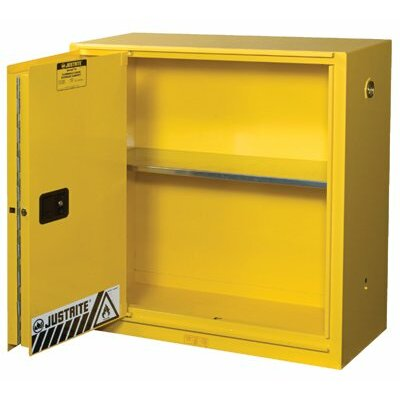 Justrite Justrite - Yellow Safety Cabinets For Flammables 30 Gal Ylw Safety Cabinet 1-Sliding Door: 400-893080 - 30 gal ylw safety cabinet 1-sliding door