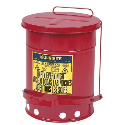 Justrite Red Oily Waste Cans - 10 gallon oily waste canw/lever