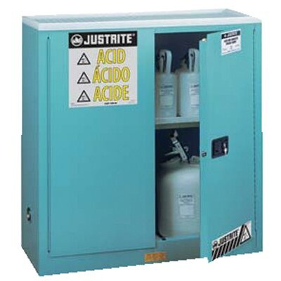 Justrite Blue Steel Safety Cabinets for Corrosives - 30 gal man corrosive w/pdl hnd