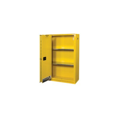 Justrite Gallon Yellow Flame EX Enhanced Sliding Door Safety Cabinet With Sliding Self-Closing Single Door