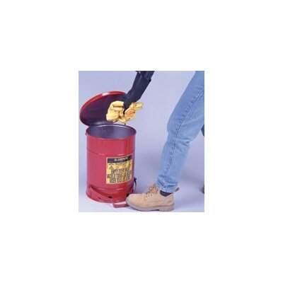 Justrite Red Oily Waste Cans - 6 gallon oily waste canw/lever