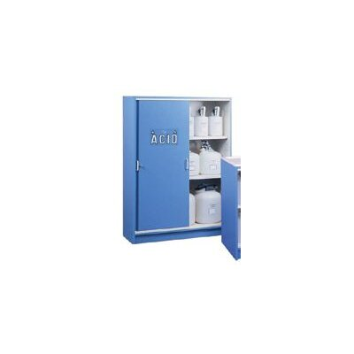 "Justrite X 42"" X 17 7/8"" Blue Nonmetallic Storage Cabinet For Corrosives With 2 Shelves And Keyed Lock (Capacity 49 Each 2 40180 Liter Bottles)"