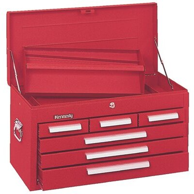 Kennedy Mechanics' Chests - 10141 mechanic chest 6 drawer smooth red