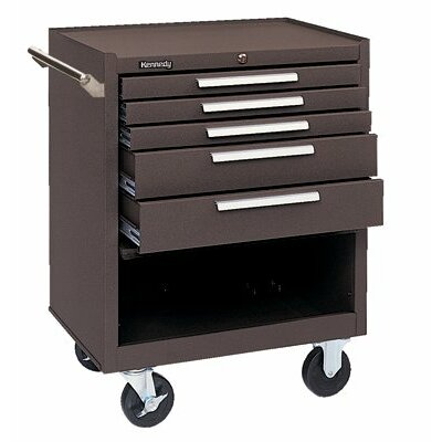 Kennedy Industrial Series Roller Cabinets - 00060 roller cabinet 5 drawer w/compartment brn