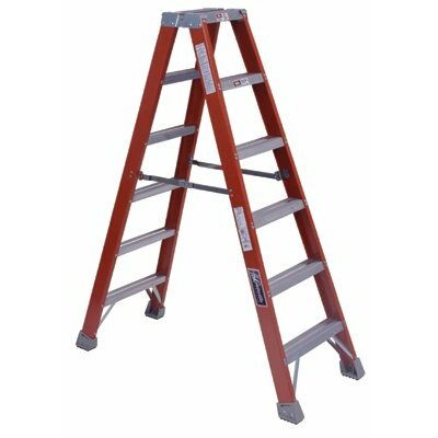 Louisville Ladder FM1500 Series Fiberglass Twin Front Ladders - 6' fiberglass twin stepladder type 1a