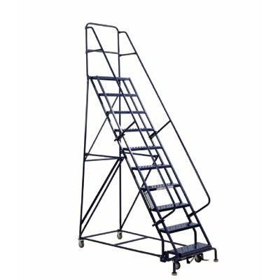 "Louisville Ladder GSW Series Steel Rolling Warehouse Ladder w/ Handrails - 6'4"" steel rolling warehouse ladder"