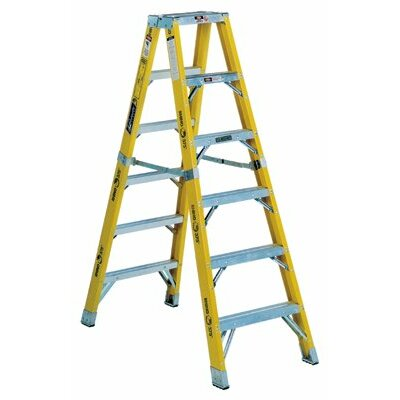 Louisville Ladder FM1100HD Series Rhino 375™ Twin Front Fiberglass Mechanic Step Ladders - 8' monarch fiberglassmechanic step ladder