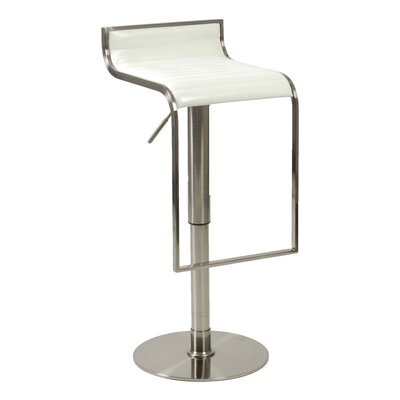 Eurostyle Forest Adjustable Bar Stool in White Leather