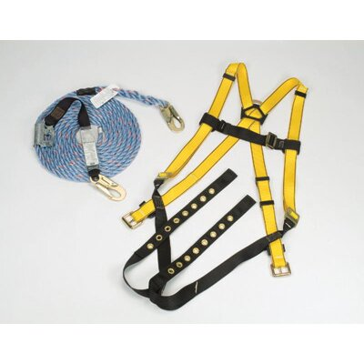 MSA Workman® Roofers' Fall Protection Kit (Contains Vest Style Harness With Quik-Fit Leg Straps, 50' Rope Lifeline With Manual Rope Grab And Storage Bag)