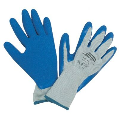 North Safety Duro Task Supported Natural Rubber Gloves - durotask gray glove cot/poly blue rubber palm