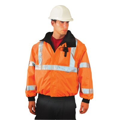 OccuNomix Hi-Viz Orange PVC Coated Polyester ANSI Class 3 Occulux Bomber Jacket With 3M™ Reflective Strpes And Nylon Lining