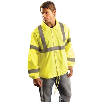 "OccuNomix Hi-Viz Yellow Polyester Economy LIghweight Spring/Fall Windbreaker Jacket With 2"" Reflective Stripes And White Tricot Fleece Lining"