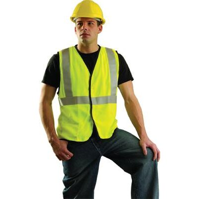 OccuNomix OccuLux® High Visibility Fluorescent Yellow Flame Retartdant Single Band Traffic Vest With Hook And Loop Closure And 3M™ Scotchlite™ Reflective Stripes