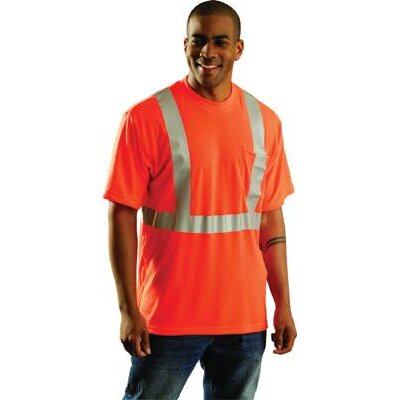 "OccuNomix Orange OccuLux® High Visibility Wicking Polyester T-Shirt With 360° Horizontal And Two Vertical 2"" Wide 3M™ Scotchlite™ Reflective Tape Stripes"