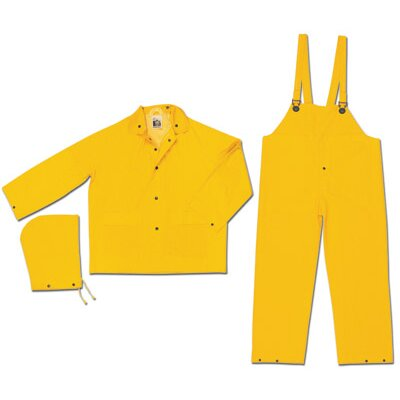 River City Yellow Classic 0.35 mm PVC On Polyester Rain Suit With Welded Seams, Storm Flap Over Plastic Snap Closure, Detachable Drawstring Hood, Black Plastic Tak Up Snaps At Wrists And Ankles, Reinforced Crotch, Plain Back, 2 Patch Pockets With Flaps And s